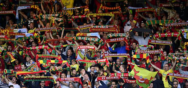 Foto: KVO-supporters dollen met 'nieuw logo' Anderlecht
