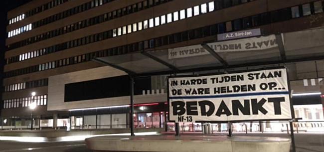 Foto: Supporters Club Brugge steken zorgpersoneel hart onder de riem